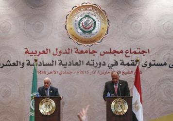 Secretary-general of the League of Arab States Nabil Elaraby (left) and Egyptian Foreign Minister Sameh Shukri attend a news conference after the closing session of the Arab League Summit in Sharm el-Sheikh, Egypt, on Sunday. The 22-nation body agreed in