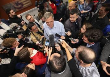 """Former Florida Gov. Jeb Bush is one of four """"un-candidates"""" being targeted by liberal groups Campaign Legal Center and Democracy 21. They say the politicians have crossed the line into candidacy based on their activities in recent months."""