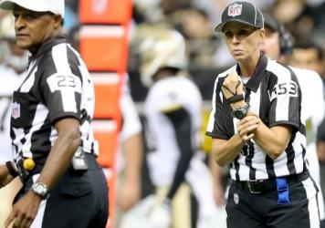 Sarah Thomas calls holding during a preseason game between the Oakland Raiders and New Orleans Saints in 2013.