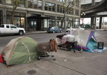 Tents are pitched illegally on a sidewalk in Seattle in January. The number of people sleeping outside in the city shot up by 20 percent in just the past year.