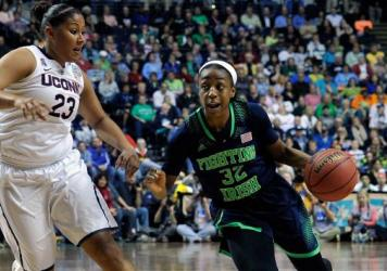Jewell Loyd and the Notre Dame Fighting Irish will again face Kaleena Mosqueda-Lewis and the Connecticut Huskies in the NCAA Women's Basketball Tournament Championship. They're seen here in last year's title game.