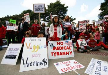 Supporters and opponents gathered in a hearing room inside California's Capitol to talk about whether the state should eliminate the personal belief exemption, which gives parents a lot of leeway regarding immunizations.