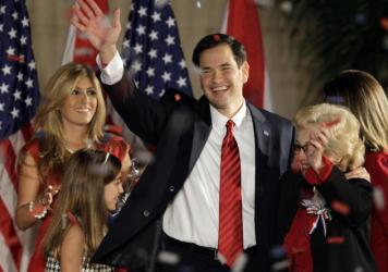 Marco Rubio celebrates on stage with his family in 2010 after winning his U.S. Senate seat in Florida when he was just 39 years old. Now, he's expected to embark on a run for president.