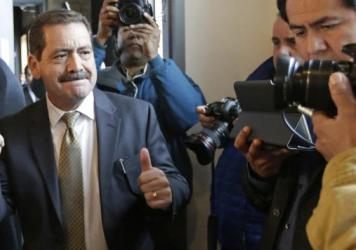 "Chicago Mayoral candidate Jesus ""Chuy"" Garcia arrives at a campaign office Tuesday, the day of the runoff election against incumbent Mayor Rahm Emanuel."