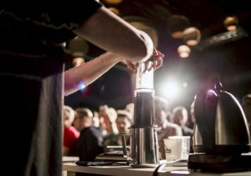 Emma Bowman makes herself a cup of espresso with the AeroPress.