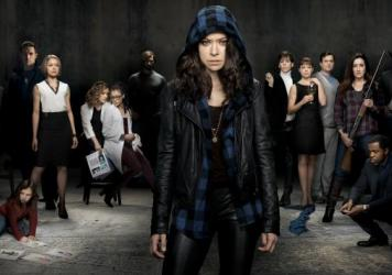 Tatiana Maslany as two different clones on the BBC America series 'Orphan Black.'