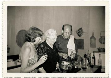 "Jackson Pollock cooks with his wife, the artist <a href=""http://www.moma.org/collection/artist.php?artist_id=3240"">Lee Krasner</a>, and his mother, Stella Pollock, in the kitchen of his home in Springs, in East Hampton, N.Y., 1950."