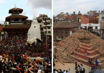 (Left) Nepalese devotees participating in a procession of chariots of god and goddess Ganesh, Kumari and Bhairav during the last day of the Indrajatra festival at Durbar Square in Kathmandu, Nepal, on Sept. 22, 2013. (Right) The ruins on the Durbar Square after an earthquake in Kathmandu on Saturday.