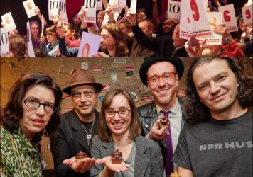 Top row: Audience members rate the music during our <em>All Songs Considered</em> listening party. Bottom row, left to right: Susan Rogers, Bob Boilen, Amelia Mason, James Reed, Stephen Thompson.