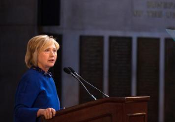 Clinton spoke at the David N. Dinkins Leadership and Public Policy Forum at Columbia University Wednesday.
