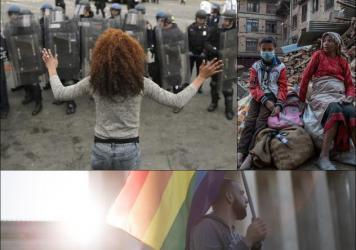 Clockwise from upper left: A woman faces riot police in Baltimore (Chip Somodevilla/Getty Images); A woman and child sit amid earthquake ruble in Nepal (Omar Havana/Getty Images); Demonstrators outside the supreme court (Drew Angerer/Getty)