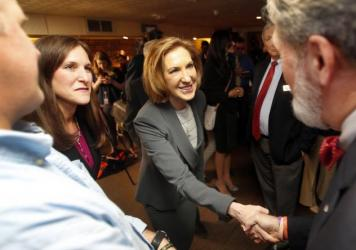 Carly Fiorina at a luncheon with New Hampshire Republican lawmakers Tuesday.