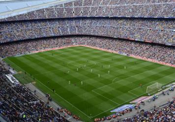 """FC Barcelona plays Getafe in Barcelona, Spain, on May 3. Spain's soccer federation says it will halt all professional games """"indefinitely"""" starting May 16, to protest a new law regulating the sale of television game rights. Spain's professional soccer le"""