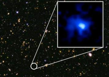 An image of the galaxy EGS-zs8-1, which set a new distance record after researchers determined it was more than 13 billion light-years away.