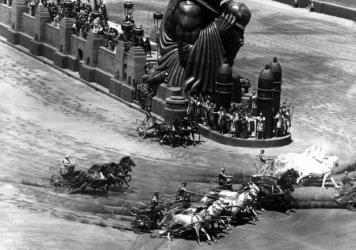 The famous chariot race in <em>Ben-Hur</em> was filmed on a movie set at Cinecittà in 1958.