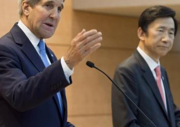 South Korean Foreign Minister Yun Byung-se and U.S. Secretary of State John Kerry hold a joint news conference following meetings at the Ministry of Foreign Affairs in Seoul.