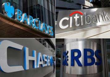 Clockwise from top left: Barclays, Citicorp, JPMorgan Chase and the Royal Bank of Scotland will pay billions in fines and plead guilty to criminally manipulating global currency market going back to 2007. The bank UBS AG (not pictured) has also agreed to
