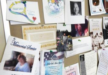 A wall of tributes, prayer cards and notes of appreciation from families whose loved ones have been cared for at Madigan Army Medical Center.
