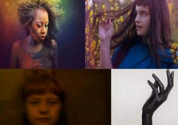 Clockwise from upper left: DeQn Sue, Briana Marela, Anna B Savage and cover art for Nao's <em>February 15</em> EP.