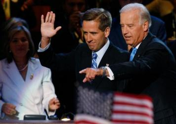 Beau Biden (left) and his father Joe Biden at the 2008 Democratic National Convention in Denver.