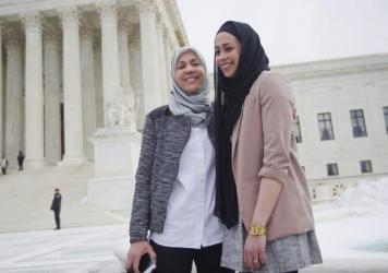 Samantha Elauf (right) stands with her mother, Majda, in February outside the Supreme Court in Washington, D.C.