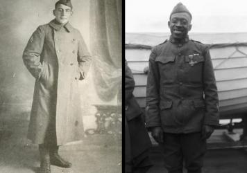 (Left) Sgt. William Shemin distinguished himself with bravery under fire during World War I. (Right) Sgt. Henry Johnson of the 369th Infantry Regiment was awarded the French Croix de Guerre for bravery while outnumbered during a battle with German soldiers, Feb. 12, 1919.