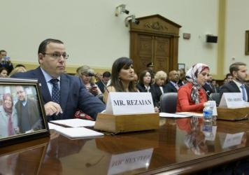 Family members of Americans held or missing in Iran attend a hearing of the Foreign Affairs Committee on Capitol Hill on Tuesday. From left: Ali Rezaian, brother of <em>Washington Post</em> journalist Jason Rezaian; Nagameh Abedini, wife of Saeed Abedini; Sarah Hekmati, sister of Amir Hekmati; and Daniel Levinson, son of Robert Levinson.