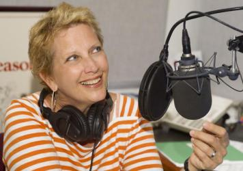 Behind the Met microphone: host Margaret Juntwait, who died Wednesday at age 58.