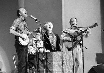 The Weavers, a folk group first organized in 1948, perform in a 25th Anniversary reunion concert at Carnegie Hall in New York City on Nov. 28, 1980. From left are: Pete Seeger, Lee Hays, Ronnie Gilbert and Fred Hellerman.