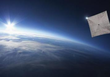 The spacecraft is smaller than a loaf of bread, but carries four enormous Mylar sails.