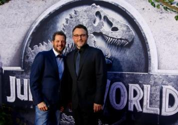 Michael Giacchino (left), pictured with<em> </em>director Colin Trevorrow, composed the music for this summer's <em>Jurassic Park, </em>the latest score in a prolific, blockbuster career.