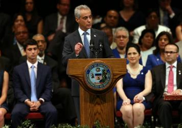 Chicago Mayor Rahm Emanuel focused on disadvantaged youth in Chicago in his inaugural speech after being sworn in to a second term as mayor.
