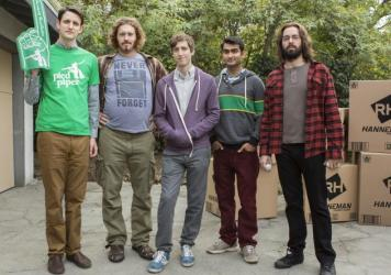 Zach Woods, T.J. Miller, Thomas Middleditch, Kumail Nanjiani, and Martin Starr.