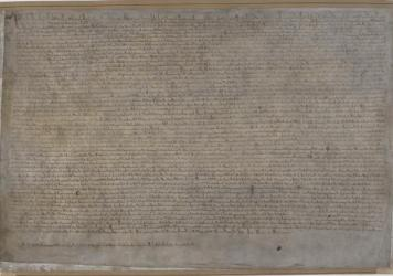 The London copy of the 1215 Magna Carta, on display by the British Library. The document was sealed on June 15, 1215.