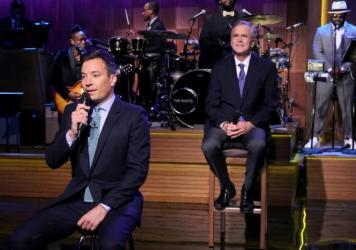 "TV host Jimmy Fallon (left) ""slow jams the news"" with presidential candidate Jeb Bush and Fallon's band."