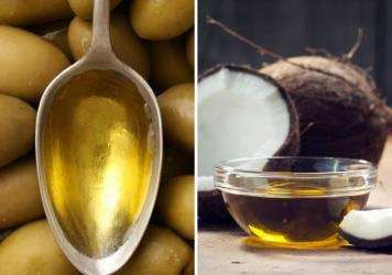 On the left, olive oil, which is low in saturated fat and high in more monounsaturated fat, which may lower bad cholesterol levels. On the right, coconut oil, which is 90 percent saturated fat and may raise bad cholesterol levels.