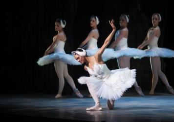Misty Copeland (center) performed in the Washington Ballet production of <em>Swan Lake </em>in April.