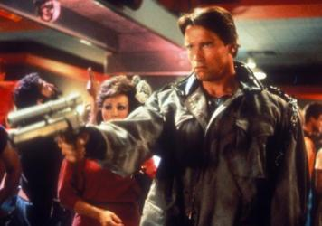 Arnold Schwarzenegger as The Terminator.