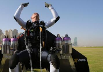 Former Swiss pilot Yves Rossy, known as Jetman, is the first person to fly a jet-fitted wing.