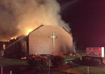 Fire crews took two hours to control the blaze at Mount Zion African Methodist Episcopal Church in Greeleyville, S.C., on Tuesday. Authorities blame the fire on weather.