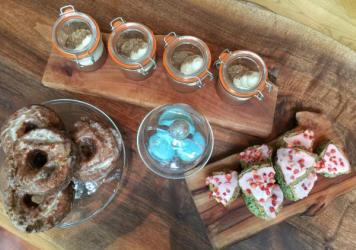 Another view of our tea-flavored treats. The doughnuts are delicious, though decidedly decadent.