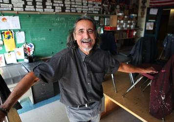 "Mathias ""Spider"" Schergen in his art room at Jenner Elementary Academy of the Arts in Chicago."