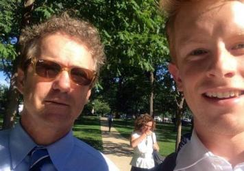 "We asked NPR listeners to send in their selfies with the 2016 candidates and around 50 people did.<strong> </strong>Gray Barrett (right) took this selfie with Rand Paul in Washington, D.C., this summer. ""Though I'm not a Rand Paul supporter, I couldn't pass up this opportunity!"" he said."