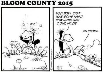 Idle for more than 25 years, the comic strip <em>Bloom County</em> returned to life Monday.