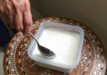 A recent batch of Veena Mehra's yogurt in Houston. She's been making yogurt the same way, with the same starter, for about 40 years.