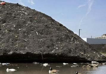 This was what the snow pile looked like at the end of May, before the summer sun began to melt it.