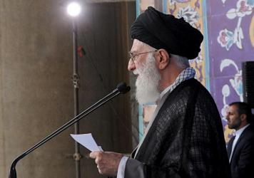 Iran's Supreme Leader Ayatollah Ali Khamenei delivers a sermon during morning prayers for the Eid al-Fitr holiday, marking the end of the holy month of Ramadan. He signaled his approval of the nuclear agreement with Western powers but reiterated that Teh