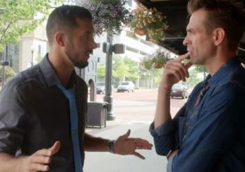 """In the video """"Does Islam Encourage Violence?"""" Imam Omar Atia (left) and Zac Parsons discuss modern perceptions of Islam."""