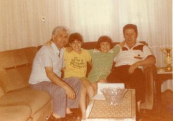 The author (second from left) with her uncle Thanassis Kakissis (far left), sister, Amalia, and father, Giorgos, during a family visit to Athens in 1979.