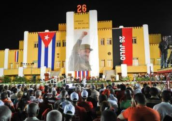 Cubans gather in Santiago de Cuba to celebrate this year's Revolution Day, the 62nd anniversary of Fidel Castro's first open assault on the forces of President Fulgencio Batista, who would eventually be overthrown by the rebels.